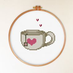 INSTANT DOWNLOAD Heart Cup of Tea Cross Stitch Pattern - Cute Cross Stitch Pattern ----------------------------------------------------- PATTERN