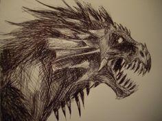 Pen drawing of dragon head