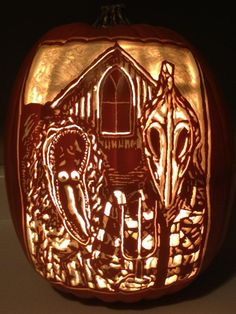 One of my foam pumpkin carves. BEETLEJUICE in the style of American Gothic. Can be purchased here...https://www.etsy.com/listing/161863715/american-gothic-beetlejuice-foam-pumpkin?ref=listing-shop-header-1