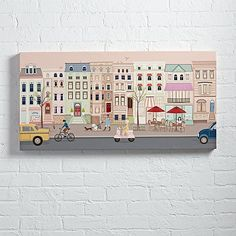 City Street Wall Art.Take in the busy sights of an urban landscape with our colorful City Street Wall Art. Designed exclusively for us by Pim Pimlada. affiliate link