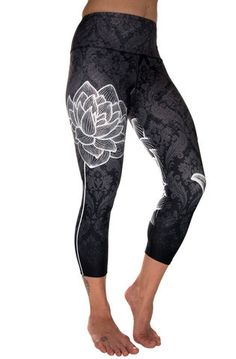 From the mud rises the beautiful lotus. Designed and manufactured in Vancouver, BC. Contents: 88% Recycled Polyester (made from recycled plastic bottles), 12% Spandex. Anti-microbial Chitosante treatm
