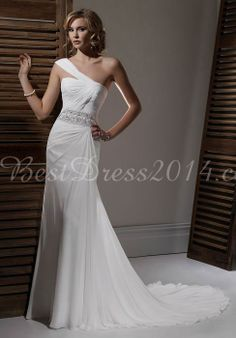 Chiffon Sheath/column Sleeveless Floor-Length Natural Waist Wedding Dress With Beading