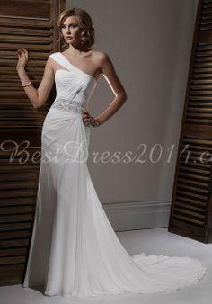 Chiffon Sheath/column Sleeveless Floor-Length Natural Waist Wedding Dress With Beading
