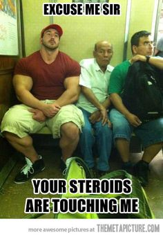 Omg he looks retarded....big body and little tiny head lol. How r the roids working for ya dumbass?