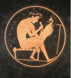 Greek man crafting a herma. Ancient Greek Art, Ancient Romans, Ancient Greece, Greek Drawing, Greek Crafts, Greek Pantheon, Classical Greece, Greek Warrior, Greek Pottery