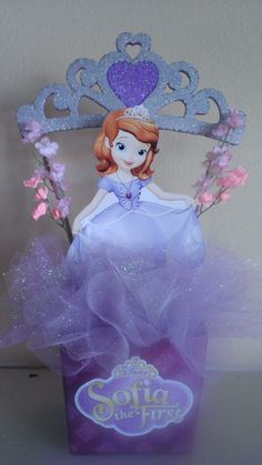 Sofia the First Party Centerpiece Princess Sofia Birthday, Sofia The First Birthday Party, 4th Birthday Parties, Princess Party, Girl Birthday, Birthday Ideas, Princesa Sophia, First Birthdays, Tangled Party