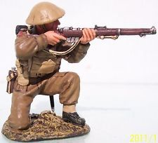 World War II British Army FOB028 Tommy Kneeling Firing Rifle - Made by King and Country Military Miniatures and Models. Factory made, hand assembled, painted and boxed in a padded decorative box. Excellent gift for the enthusiast.