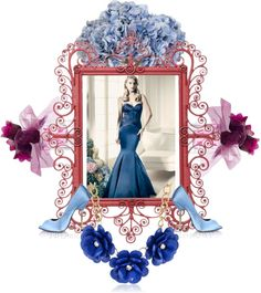 A fashion look from July 2014 featuring peep-toe pumps, red necklace and vera wang perfume. Vera Wang, Blue Dresses, Polyvore Fashion, Aurora Sleeping Beauty, Fashion Boards, Lily, Ethan Allen, Disney Princess, Art