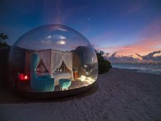 Retro-Chic Resort Launches Luxury 'Beach Bubble' Tent – a First for the Maldives - Drift Travel Magazine Tent Camping, Glamping, Bubble Tent, Bubble House, Maldives Beach, Maldives Travel, Art Carte, Entry Doors With Glass, Sleeping Under The Stars