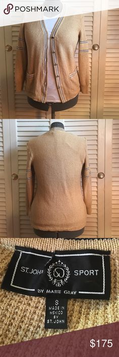 """St. John Sport Sweater in Gold 100% authentic. St. John Sport Sweater in gold. Size small. Gold sweater with button closure with St. John crest on the arm. In gently worn, preloved condition (label is ripped but not visible when worn). I DO NOT MODEL LISTINGS. Measurements approx. 25.5"""" length, 21.5"""" arm length, 18"""" across. Love the item but not the price? Please make offers using the offer button. 🚫POSH ONLY, NO TRADES OR COMMENT OFFERS🚫 St. John Sweaters"""