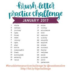 January's Theme: Positivity! Consistent practice is the only way to get better at brush lettering and having a ready-to-go set of words to practice makes it eas