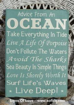 Advice From The Ocean Sign, Hand Painted Beach Decor, Ocean Poem, Live Deep, Nautical Coastal Theme, Rustic Wood, Sage Green