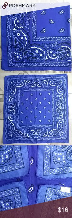 """Just in! The bandana is back! Royal Blue Tradition High quality, traditional pattern bandana scarf. Soft to the touch and richly colored.   Trending. Bandana's are back...bigger than ever! Wear as neck scarf, head scarf, folded and tied to ankle, wrist or bag.  The camera did not capture the richness of the royal blue. Closest to photo 4 & 5. Blue and white Preowned, EUC; label removed Square (approx 20.5""""x 21"""")  Photo #1 Stock, not actual Accessories Scarves & Wraps"""