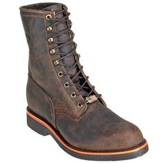 Chippewa Boots Men's Brown USA-Made 20070 8 Inch Leather Work Boots