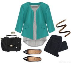Stitch Fix: Boyfriend Tee paired with a blazer and jeans for work
