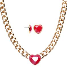 Gold Tone Chunky Chain Faux Red Stone Heart Stud Earrings Necklace Set | Body Candy Body Jewelry