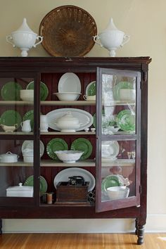 Antique Free Standing Cabinets With Crystal Glass