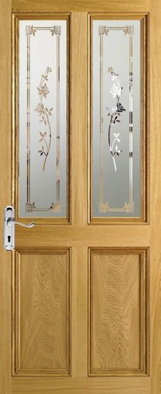All of our Sandblasted Glass designs can be used to create matching fanlights for above your door or glass panels for beside your door. Window Glass Design, Frosted Glass Design, Frosted Glass Door, Etched Glass Windows, Etched Glass Door, Pooja Room Door Design, Sandblasted Glass, Top Interior Designers, Furniture Legs
