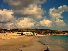The beach of Mellieha Malta