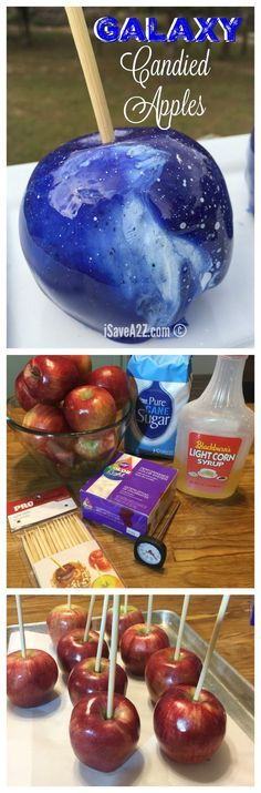 It's not hard at all to make these homemade Galaxy Candied Apples, you do need to know the tricks though!Galaxy Candied Apples (homemade caramel apples without corn syrup) Köstliche Desserts, Dessert Recipes, Wedding Desserts, Plated Desserts, Kreative Snacks, Festa Frozen Fever, Decoration Patisserie, Homemade Candies, Homemade Food