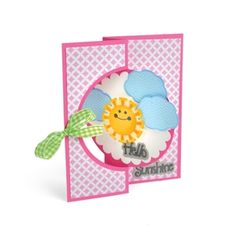 Hello Sunshine Flip-its Card Shine with a most creative greeting! This lovely embellished DIY card lightens the mood and can be easily created with Framelits and Triplits die sets from the Stephanie Barnard collection.