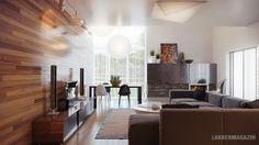 fa falpanel - nappali szoba lakberendezési ötletek, látványtervek