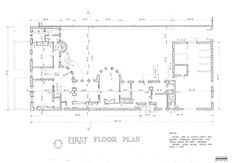 n the floor plan, the intersection of Prairie Avenue and 18th Street is in the lower-left corner. The house has an L-shaped plan from this corner, with a third leg (right) made by the carriage room. In this U-shaped configuration, the rounded bay jutting into the backyard stands out. This space, the dining room, coincides with the end of the main house, such that everything to the right is service; first is the butler's pantry, then the kitchen, with the pantry and servants' hall beyond.