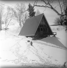 A-frame Friday: Ski cabin in Vermont, February 1965 from the...