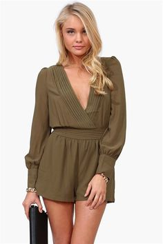 Sultry Romper in Olive -Super cute romper with plunging v neckline. Is super sexy with great texture detailing.