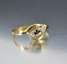 Vintage Retro English Gold Diamond Sapphire Ring   #Diamond #Art #Vintage #English #Gold #Sapphire #intage #9K #Ring #Deco