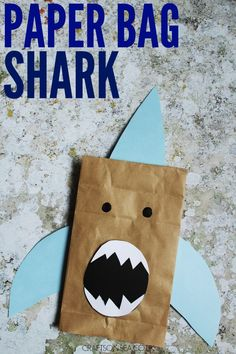This fun paper bag shark is super easy to make and a great way to recycle paper bags too. Perfect for shark week crafts. This fun paper bag shark is super easy to make and a great way to recycle paper bags too. Perfect for shark week crafts. Shark Week Crafts, Shark Craft, Paper Bag Crafts, Paper Bags, Paper Craft, Diy Paper, Paper Bag Puppets, Puppets For Kids, Ocean Crafts