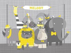 Happy Animal Herd - Gray & Yellow, Animals Canvas Wall Art   Oopsy daisy