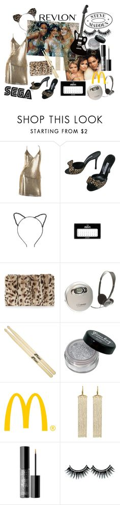 """""""Josie and the Pussycats"""" by plasticbats ❤ liked on Polyvore featuring Manolo Blahnik, Topshop, claire's, Whistles, Sony, CO, Steve Madden, Revlon, Real Jewels and Urban Decay"""