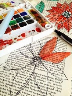 Watercolor book pages found on justimagine: no link to a tutorial but rather self- explanatory i think...