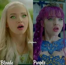 Blonde hair and Purple Hair Descendants Mal And Ben, Descendants 2015, Descendants Wicked World, Disney Channel Descendants, Hairspray Live, Mal And Evie, Disney Decendants, Estilo Disney, Tv Show Casting