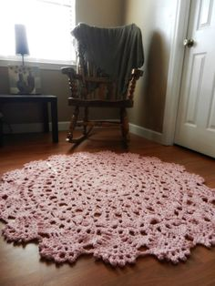 inspiration, no pattern: Giant Crochet Doily Rug in Pink Lace -Handmade-Cottage Chic-  Oversized-