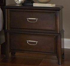 Beaux Contemporary Dark Cherry Hardwood 2 Drawer Nightstand
