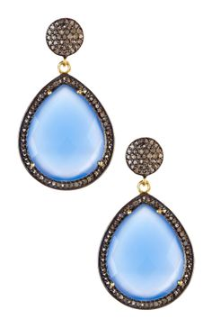 Blue Onyx & Champagne Diamond Teardrop Earrings