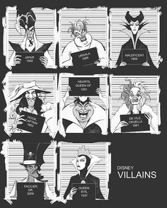 Disney Villains Mugshots www.nl Maleficent and the evil queen look really refined on their mugshot. Disney Pixar, Disney Punk, Disney E Dreamworks, World Disney, Film Disney, Arte Disney, Disney Magic, Disney Art, Disney Villains Art