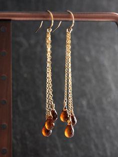 Garnet Teardrop Earrings, Spessartite Garnet Long Earrings, January Birthstone, Gemstone Earrings by PollyAJewellery on Etsy https://www.etsy.com/listing/201796260/garnet-teardrop-earrings-spessartite