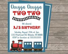 Chugga Chugga TWO TWO Birthday Invitation by StayGoldenDesigns