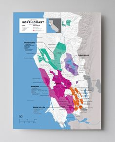 Wine Map of North Coast (Mendocino, Clear Lake, Sonoma, Napa Valley), California with Cities - http://shop.winefolly.com/collections/regional-wine-maps/products/north-coast-ca-usa-wine-regions-map