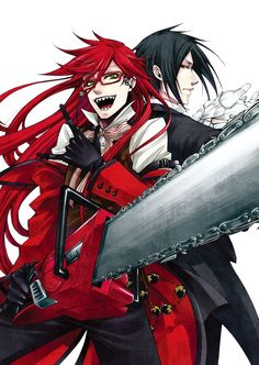 Grell: Oh, Bassy! After we kill this menace, let's kiss until we drop! <3 Sebastian: not a chance, Grell. Grell: No fair!