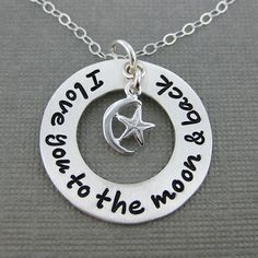 I love you to the moon & back necklace  Hand by jcjewelrydesign, $46.00