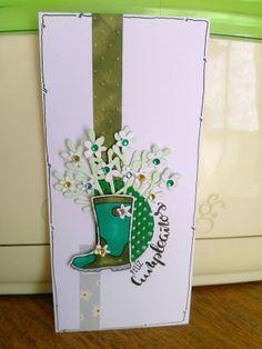 Mi Scrap: feliz cumpleaños card Cute Cards, Planter Pots, Card Making, Scrapbook, Creative, Green, Blog, Happy Birthday, Stamps