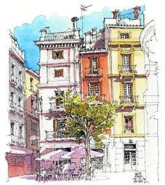 'Málaga a trazos': Los otros Sketch Painting, Watercolor Sketch, Watercolor Paintings, Architecture Concept Drawings, Watercolor Architecture, Building Sketch, Building Art, Travel Sketchbook, Fashion Sketchbook