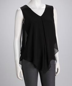Take a look at this Black V-Neck Sleeveless Top by Kische on @zulily today!
