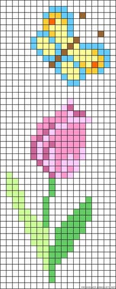Spring perler bead pattern - turn it into granny square blanket!