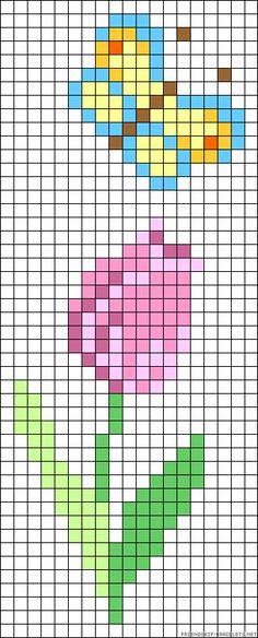 Spring perler bead pattern - turn it into granny square blanket!