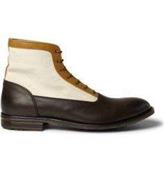 Mens Spring 2012 Alexander Mcqueen Panelled Leather And Suede Boots